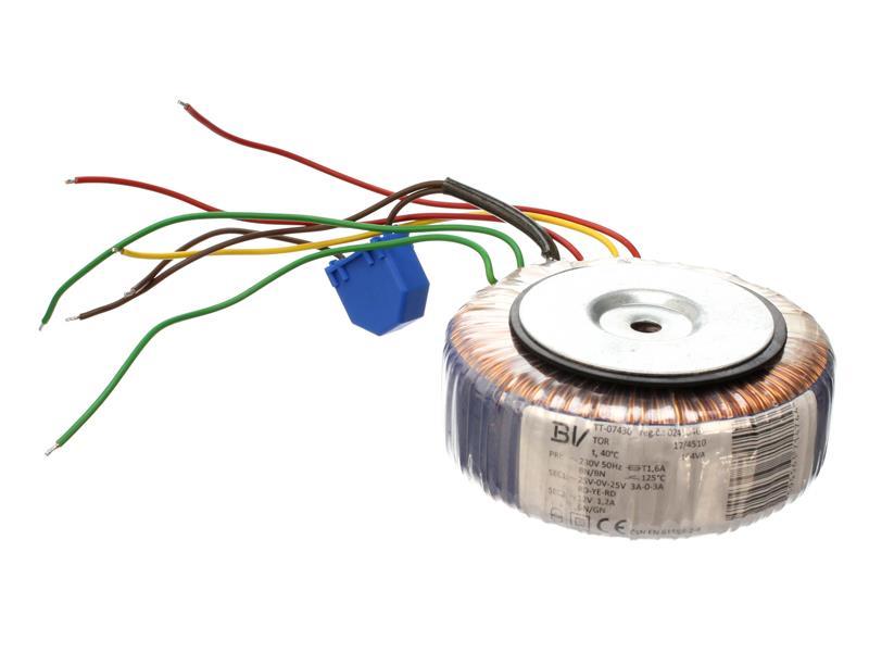 Transformátor toroidní 164VA 25/0/25V - 3A, 12V - 1.2A (115/50) vhodný pro Stavebnice TIPA PT002B/5