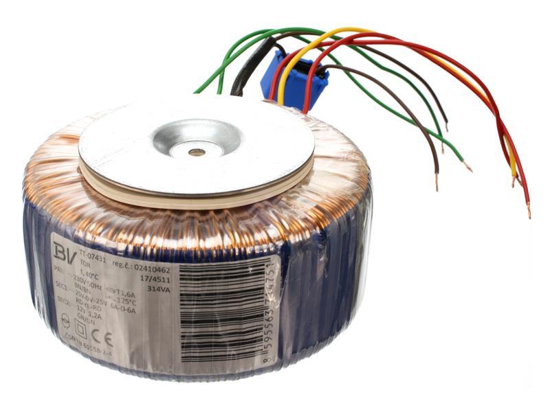 Transformátor toroidní 314VA 25/0/25V - 6A, 12V - 1.2A (145/68) vhodný pro Stavebnice TIPA PT003B/6