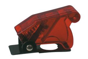 Přepínač páčkový  ochran.kryt - transp. červená