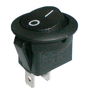 Přepínač kolébkový kul.  2pol./2pin  ON-OFF 250V/6A černý