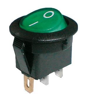 Přepínač kolébkový kul. pros.  2pol./3pin  ON-OFF 250V/6A zelený