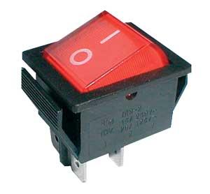 Přepínač kolébkový   2pol./4pin  ON-OFF 250V/15A červený