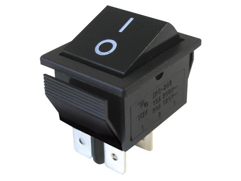 Přepínač kolébkový   2pol./4pin  ON-OFF 250V/15A černý