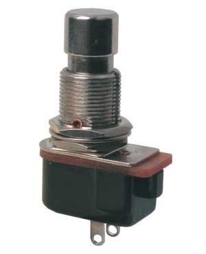 Přepínač tlačítko kul.OFF-(ON)  12V kov