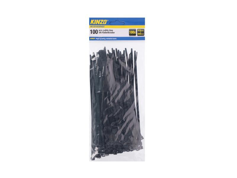 Pásek stahovací Kinzo 200x4.8mm 100ks černý