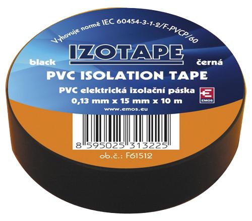 Páska izolační PVC 15/10m  černá