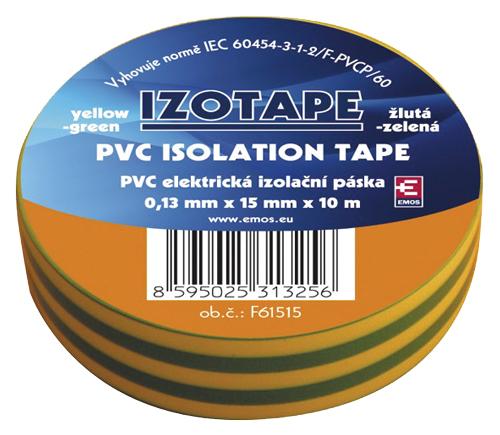 Páska izolační PVC 15/10m  zelenožlutá