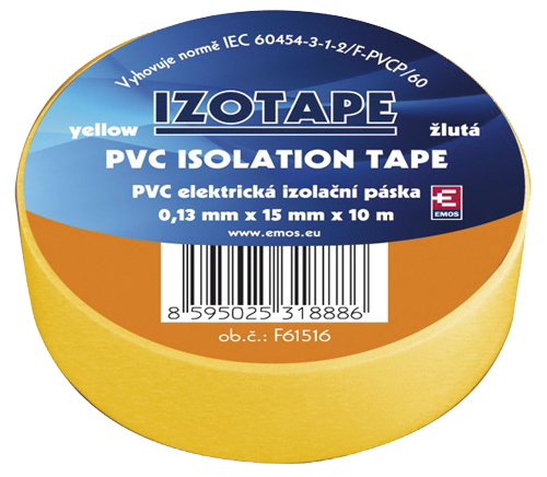 Páska izolační PVC 15/10m  žlutá