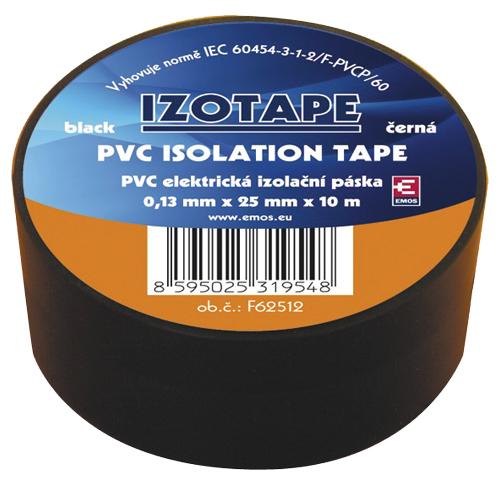 Páska izolační PVC 25/10m  černá