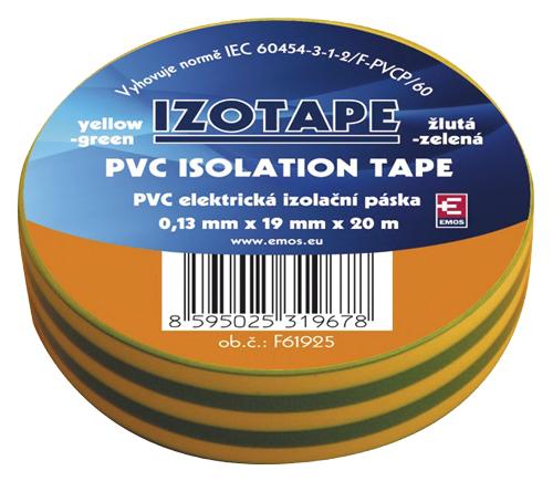 Páska izolační PVC 19/20m  zelenožlutá