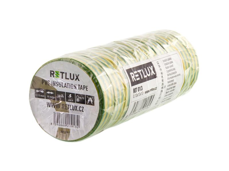 Páska izolační  PVC 15/10m RETLUX RIT 013 10ks zelenožlutá