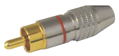 Konektor CINCH kabel kov nikl pr.5mm červený