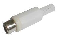 Zdířka CINCH kabel  plast bílá