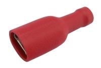 Zdířka faston 6.3mm izol., vodič 0.5-1.5mm  červená