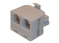 Redukce telefonní konektor/ 2xzdířka 6p-4c