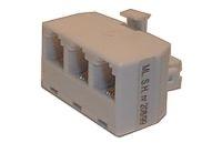 Redukce telefonní konektor/ 3xzdířka 6p-4c