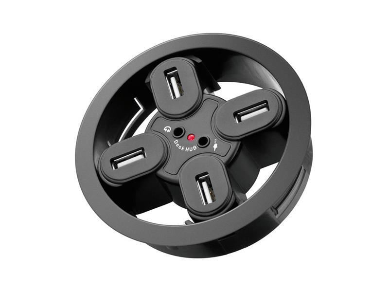 Goobay - redukce USB hub 4 porty, 2 x audio jack 3,5mm k zapuštění