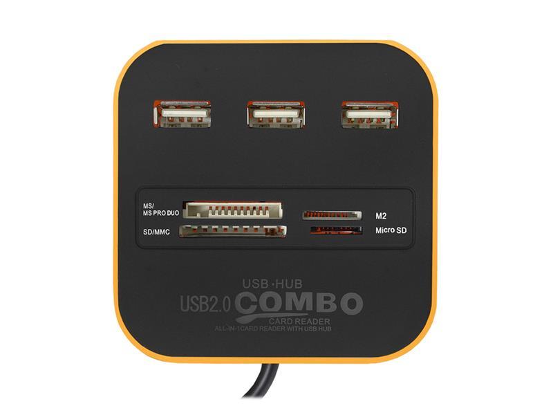 HUB 3x USB + čtečka paměťových karet oranžový