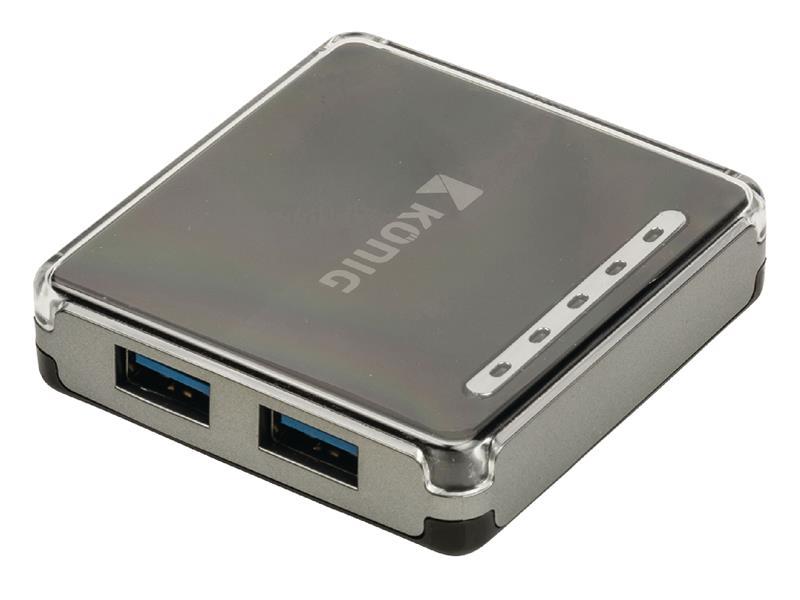 Redukce USB HUB 4 porty KÖNIG CSU3H4P100BL