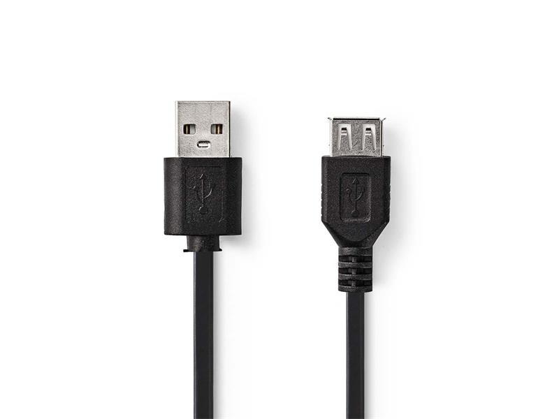 Kabel 1x USB 2.0 A konektor - 1x USB 2.0 A zdířka 2m NEDIS