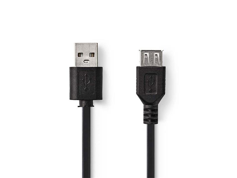 Kabel 1x USB 2.0 A konektor - 1x USB 2.0 A zdířka 3m NEDIS