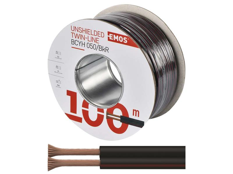 Dvojlinka nestíněná 2x0,50mm černo/rudá