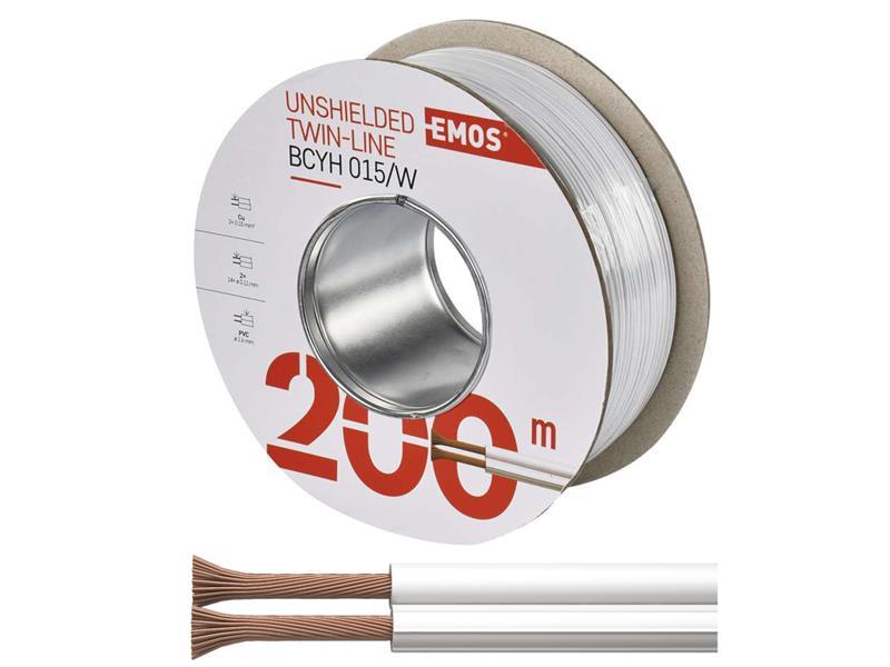 Dvojlinka nestíněná 2x0,15mm bílá, 200m