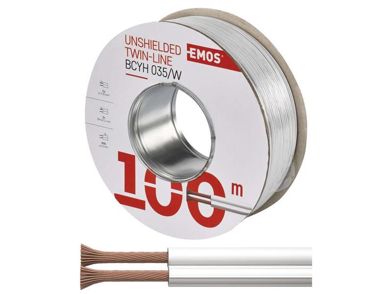 Dvojlinka nestíněná 2x0,35mm  bílá, 100m
