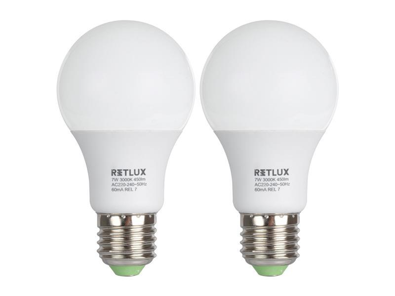 Žárovka LED A60 E27  7W bílá teplá duopack RETLUX