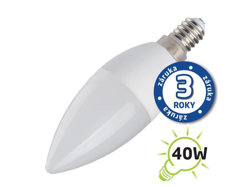 Žárovka LED C37 E14 5W bílá teplá (Pc) TIPA