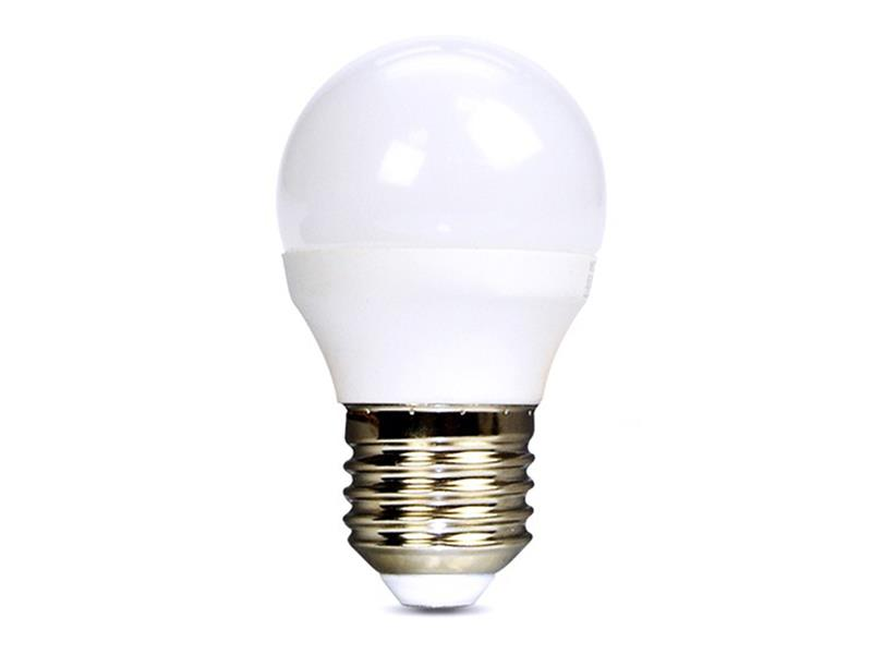 Solight LED žárovka, miniglobe, 6W, E27, 6000K, 450lm bílá studená WZ419