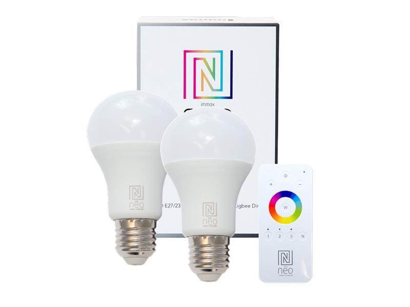 Žárovka LED E27 8.5W bílá teplá IMMAX NEO 07001BD ZIGBEE DIM 2ks + dálkový ovladač