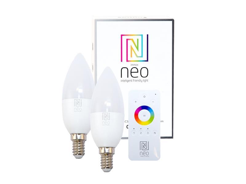 Žárovka LED E14 5W bílá teplá IMMAX NEO 07002BD ZIGBEE DIM 2ks + dálkový ovladač