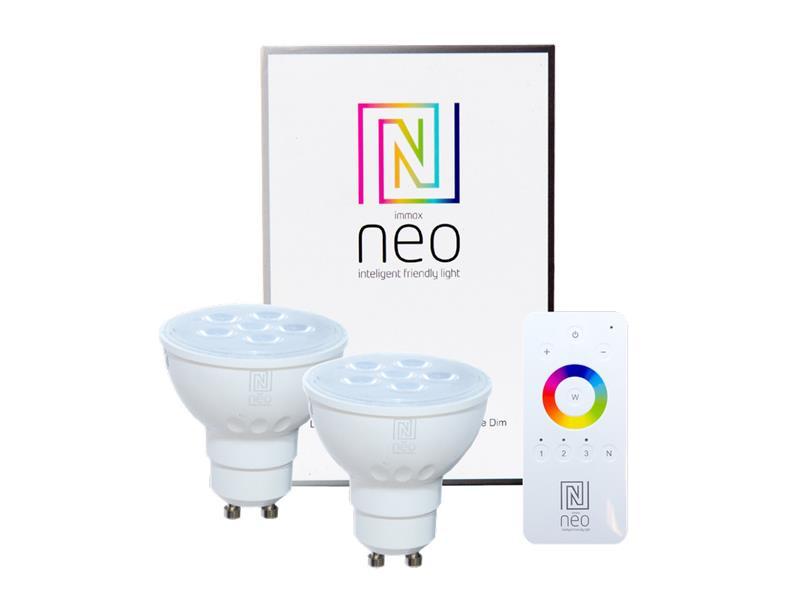 Žárovka LED GU10 4.8W bílá teplá IMMAX NEO 07003BD ZIGBEE DIM 2ks + dálkový ovladač