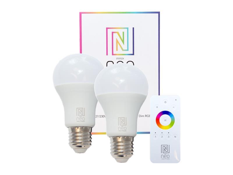 Žárovka LED E27 8.5W RGBW IMMAX NEO 07004BD ZIGBEE DIM 2ks + dálkový ovladač
