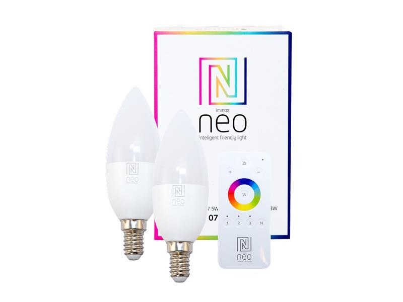 Žárovka LED E14 5W RGBW IMMAX NEO 07005BD ZIGBEE DIM 2ks + dálkový ovladač