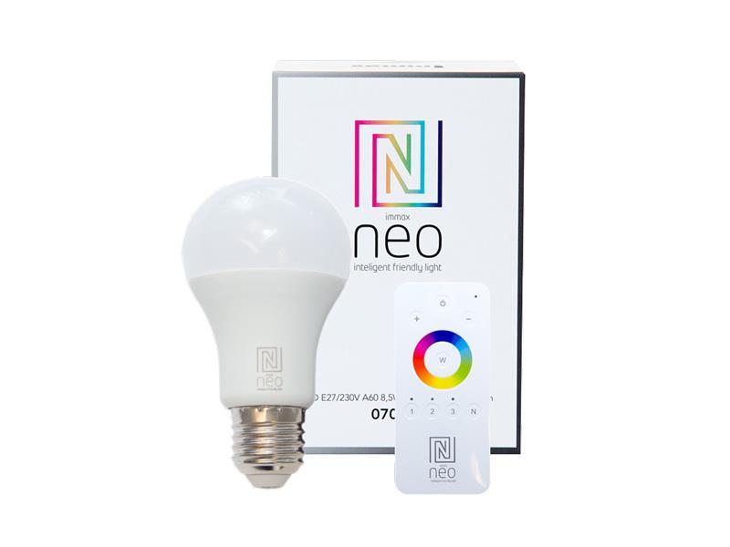 Žárovka LED E27 8.5W bílá teplá IMMAX NEO 07001D ZIGBEE DIM + dálkový ovladač