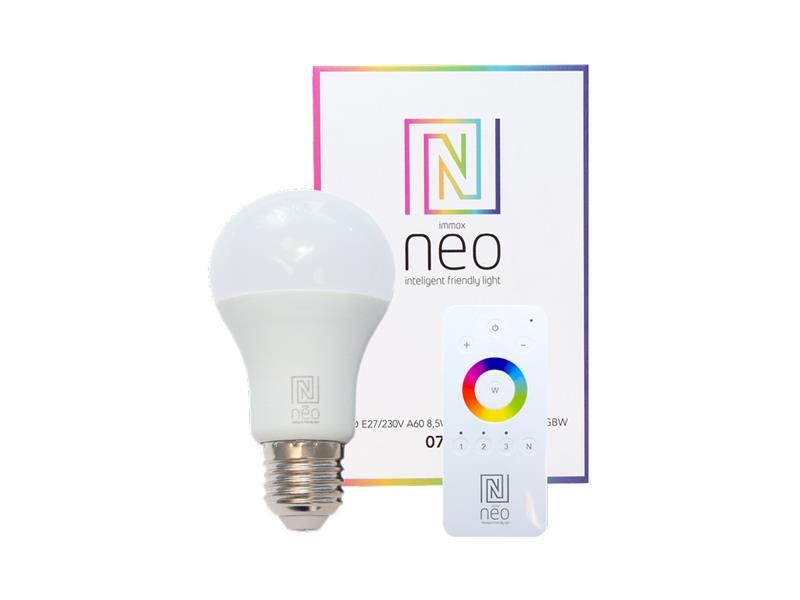 Žárovka LED E27 8.5W RGBW IMMAX NEO 07004D ZIGBEE DIM + dálkový ovladač