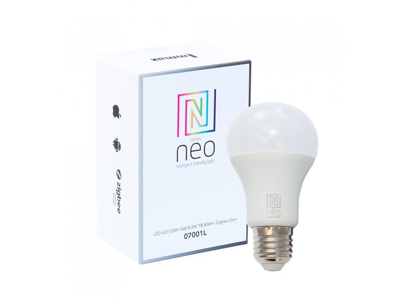 Chytrá WiFi žárovka LED E27  8.5W bílá teplá IMMAX NEO 07001L