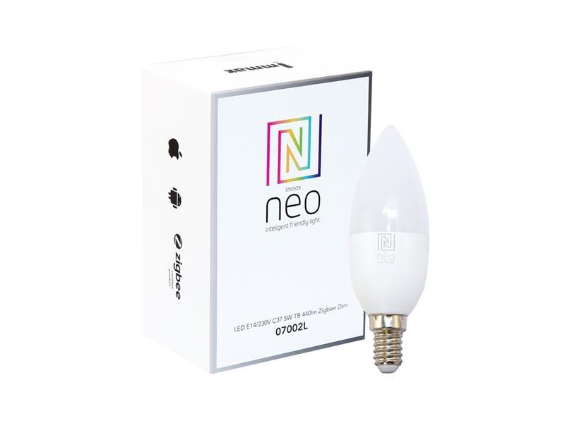 Chytrá WiFi žárovka LED E14  5W bílá teplá IMMAX NEO 07002L