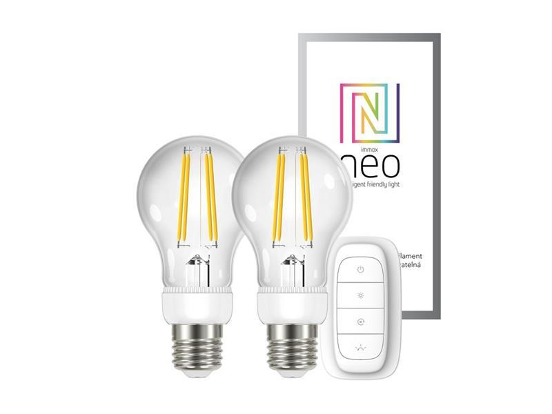 Chytrá WiFi žárovka LED E27 6.3W teplá bílá IMMAX NEO 07088BD 2ks + dálkový ovladač