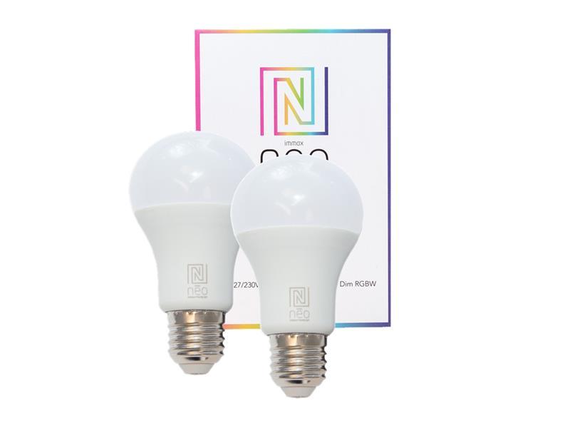 Chytrá WiFi žárovka LED E27  9W RGBW IMMAX NEO 07115B 2ks