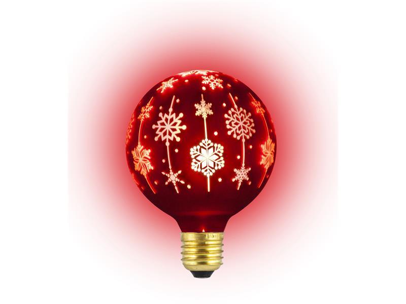 Žárovka vánoční LED E27 4W G95 bílá teplá RETLUX RXL 368 červená