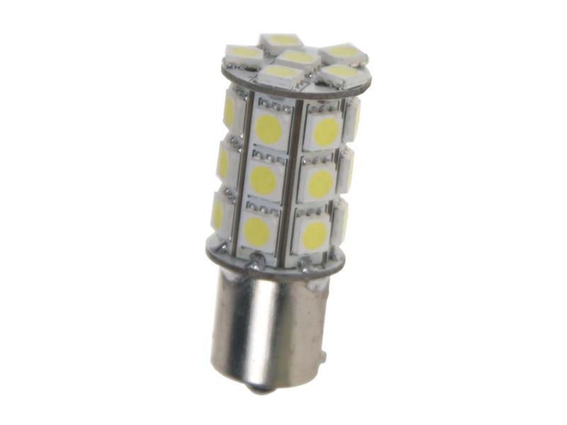 LED žárovka 12V s paticí BA 15studená bílá , 27LED 3SMD