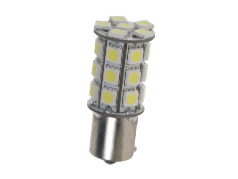 LED žárovka 12V s paticí BAU 15studená bílá , 27LED 3SMD