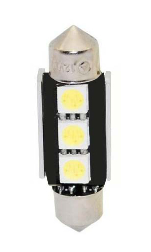 LED žárovka 12V, sufit (39mm) bílá, 3LED/3SMD