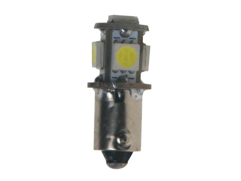 LED žárovka 12V s paticí BA9s bílá, 5LED/3SMD 95169cb