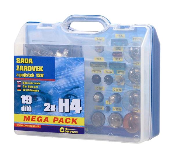 Sada autožárovek MEGA H4+H4+pojistky COMPASS