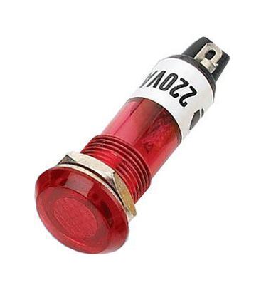 Kontrolka kulatá 230V s doutnavkou, červená do otvoru 10mm HADEX