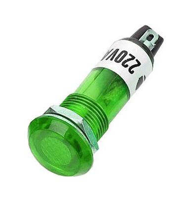 Kontrolka 230V s doutnavkou, zelená do otvoru 10mm